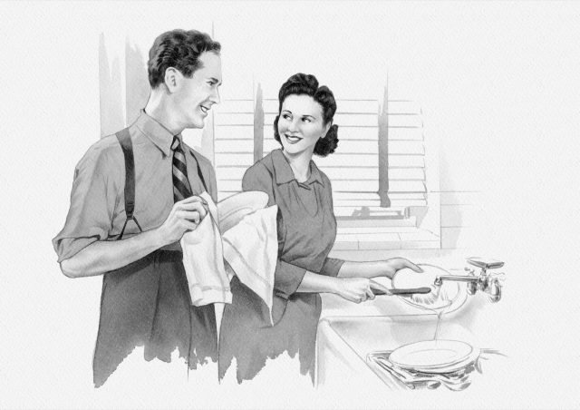 1950s Couple washing dishes
