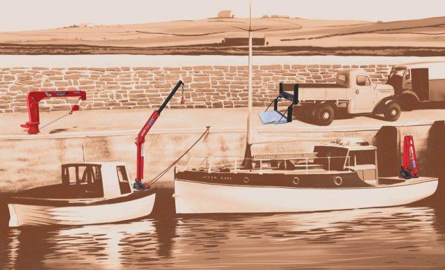 Maxilift sepia dock scene