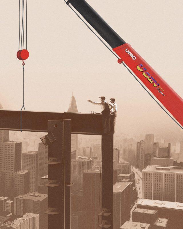 Maxilift sepia skyscraper scene