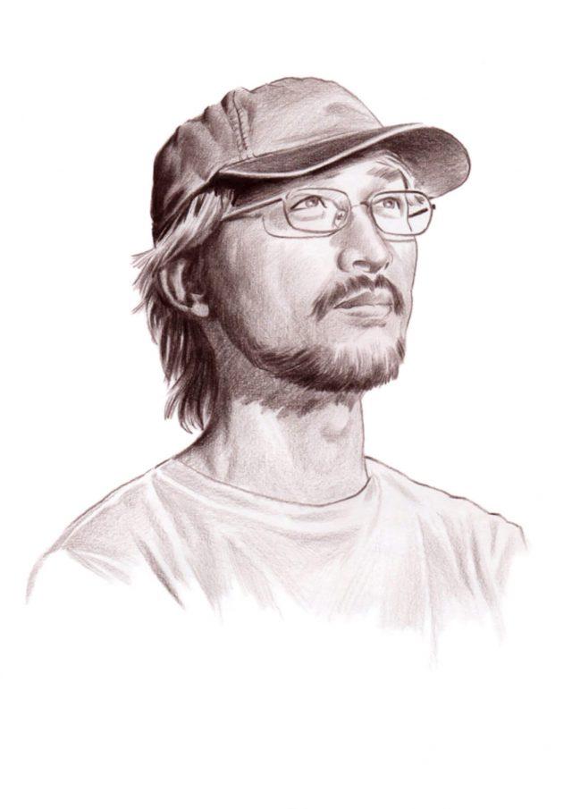 Asian man portrait in Seapia tone pencil