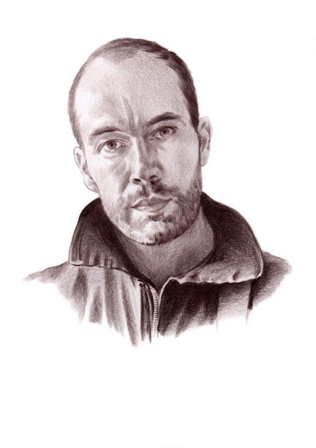 Sepia tone pencil portrait of a bearded man