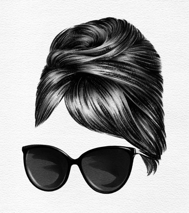 Hair and sunglasses of Audrey Hepburn