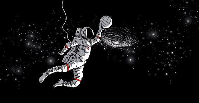 Grand Slam Astronaut with basketball