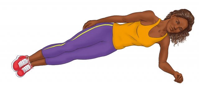 Indigenous athlete side plank pose