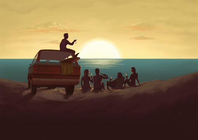 Young people watching the sunrise on the beach. Concept for a Wine label