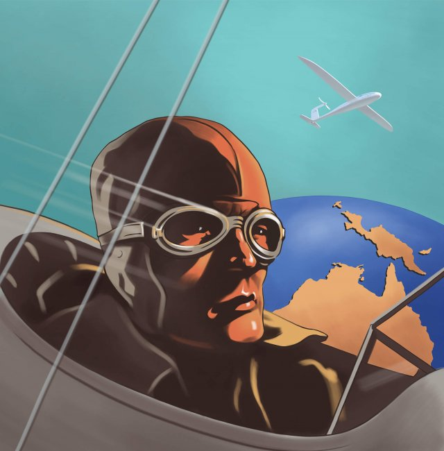 stylized 1920 airbrush poster of a pilot in a vintage bi plane