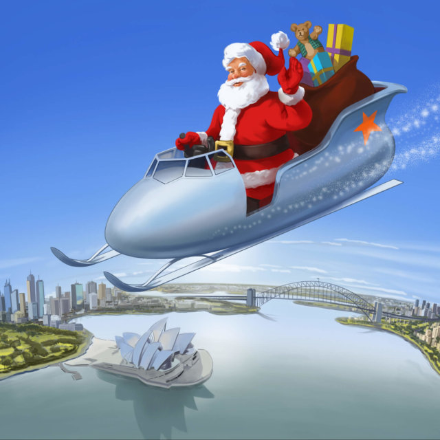 Father Xmas in an aircraft style Jetstar sleigh