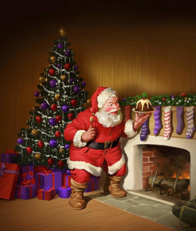 Santa holding a Xmas Pudding